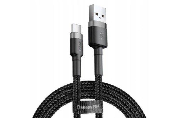 Baseus Cafule kabel przewód 2m USB-C TYP-C QC 3.0 Czarno-Szary